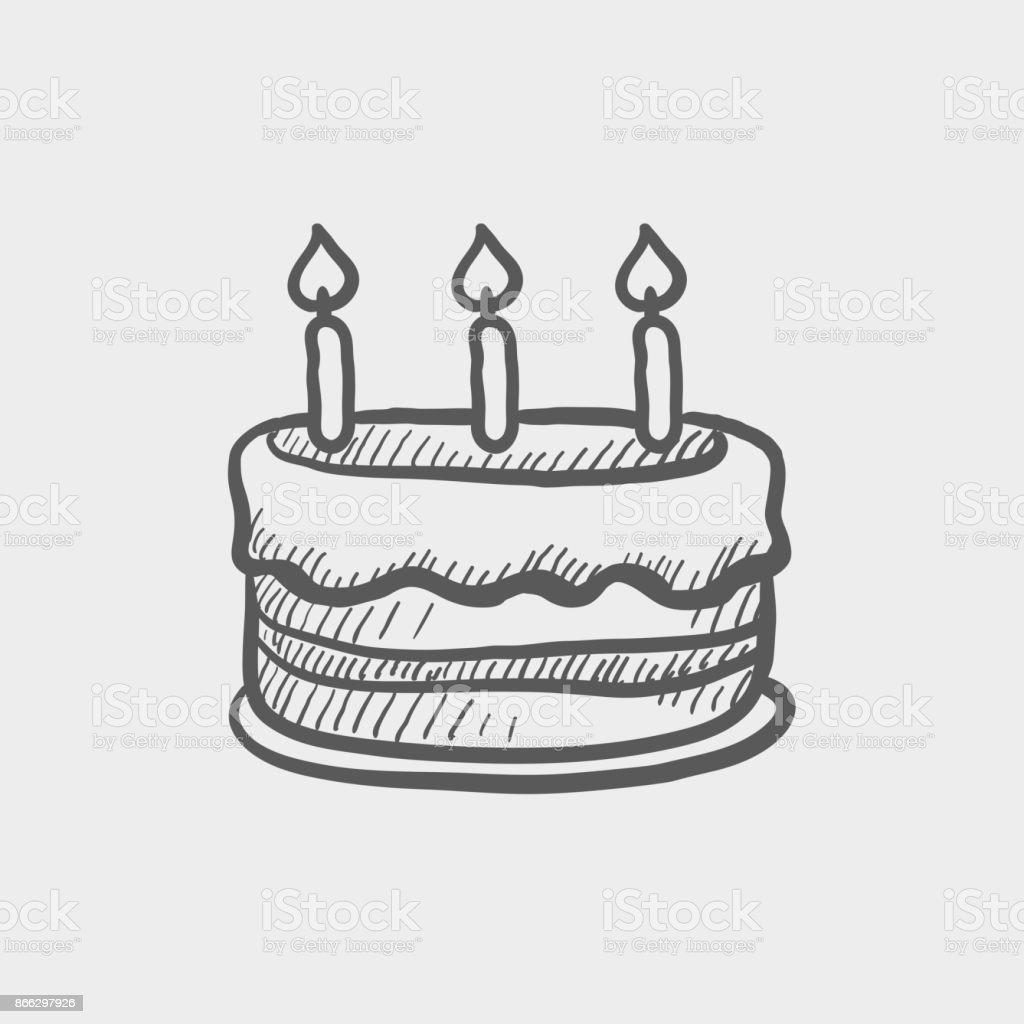 Birthday Cake With Candles Sketch Hand Drawn Doodle Icon Stock
