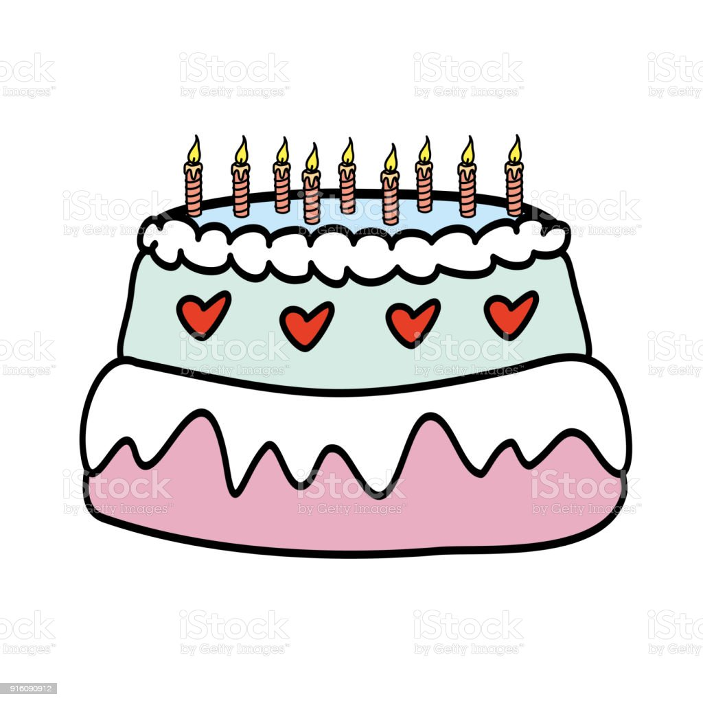 Birthday Cake With Candles Stock Vector Art More Images of Art
