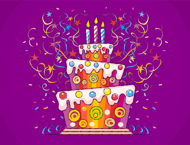 Birthday cake with candles Birthday cake with burning candles and serpentine for holiday. Sweet gift with confetti and stars. Hand drawn vector illustration in cartoon style with draft outline contours, on violet background. cartoon of birthday cake outline stock illustrations