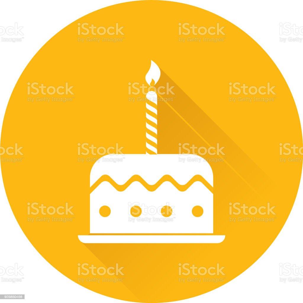 Geburtstagstorte mit Kerzen mit langen Schatten – Vektorgrafik