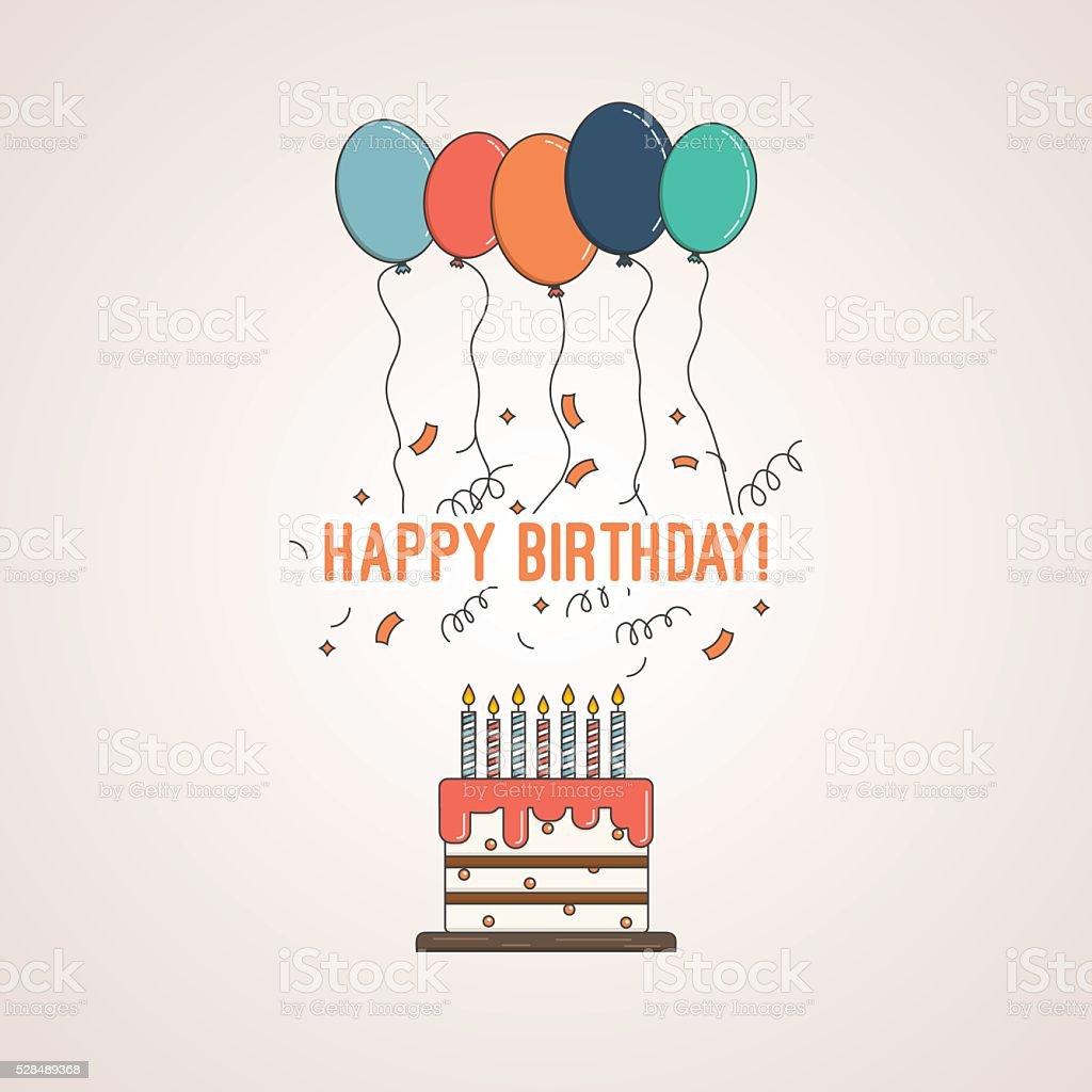Anniversaire gâteau avec des félicitations de joyeux anniversaire et bougies - Illustration vectorielle