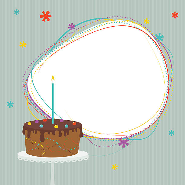 Birthday cake with frame Birthday cake with candle. Frame with copy space. cake borders stock illustrations