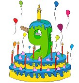 Birthday Cake With Number Nine Candle, Celebrating Ninth Year of Life, Colorful Balloons and Chocolate Coating