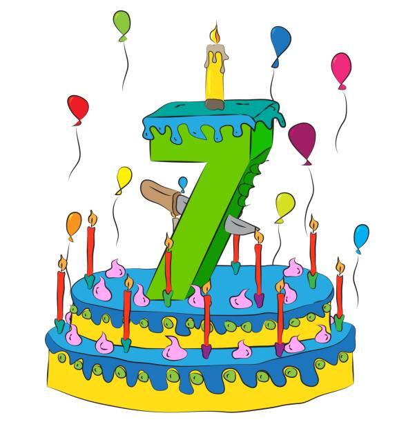Best Happy 7th Birthday Illustrations, Royalty-Free Vector ...