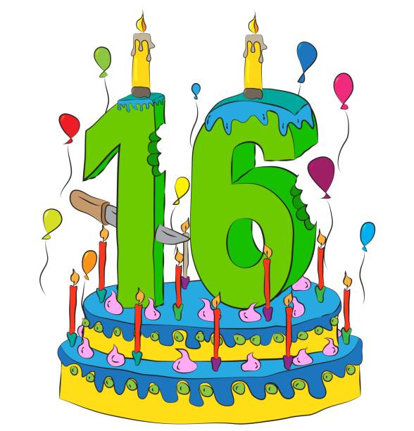 Royalty Free Cartoon Of The Birthday Cake Lots Of Candles Clip Art