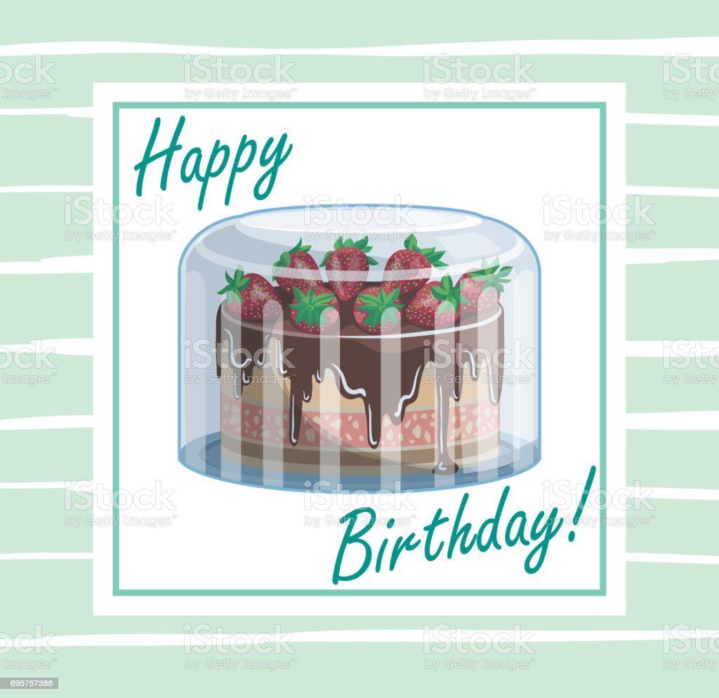 Birthday cake with strawberries in package vector art illustration
