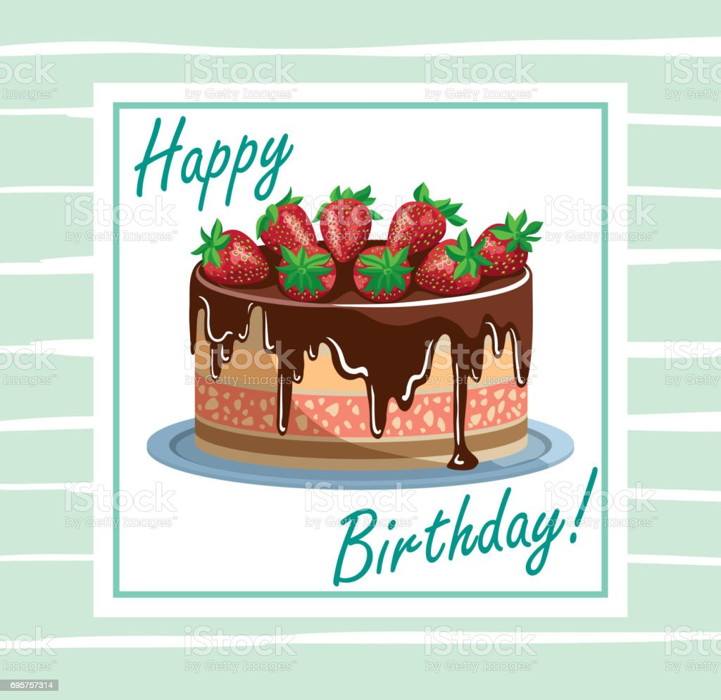 Birthday cake with strawberries vector art illustration