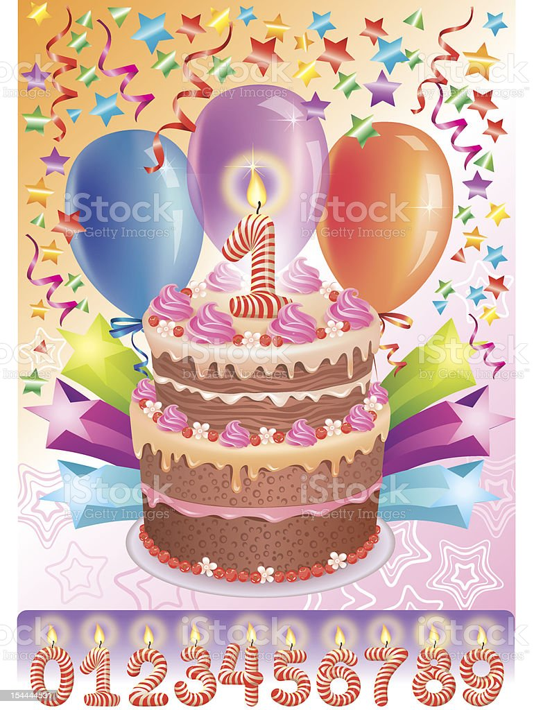 Cool Birthday Cake With The Number Age Stockvectorkunst En Meer Beelden Personalised Birthday Cards Akebfashionlily Jamesorg