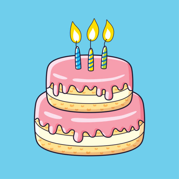Concept Of A Large Birthday Cake With Candle And Candy Clip Art Vector Images Illustrations