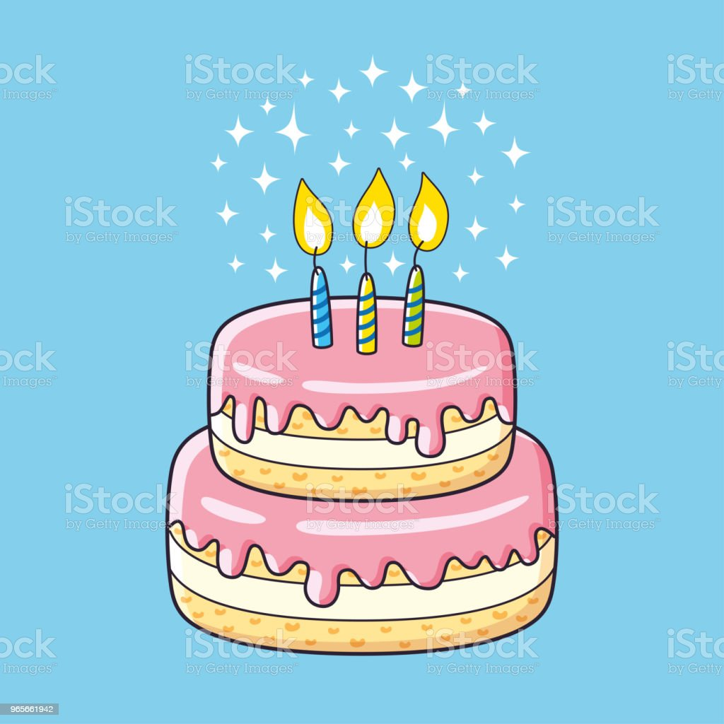 Birthday Cake With Three Candles Stock Vector Art More Images Of