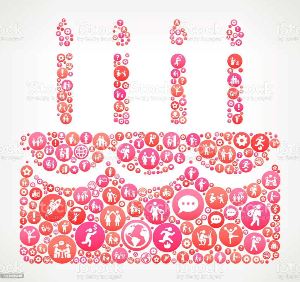 Birthday Cake Women Female Empowerment Icons Vector Background Royalty Free