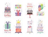 Set of birthday elements for greeting cards, invitations, social media. Editable vectors on layers.