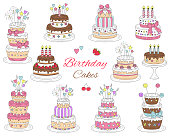 Birthday cakes set, vector hand drawn colorful doodle illustration. Cherry, strawberry and chocolate cakes with candles isolated on white background.
