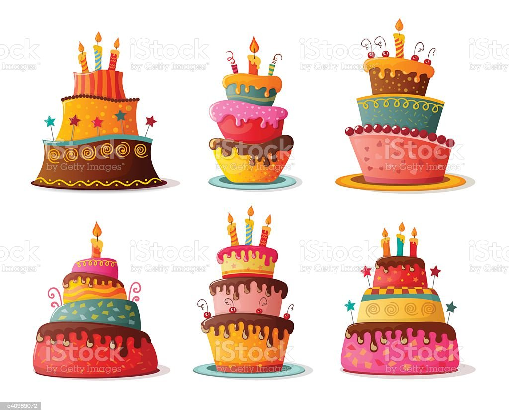 birthday cakes set vector art illustration