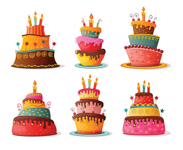 birthday cakes set - happy birthday cake stock illustrations, clip art, cartoons, & icons