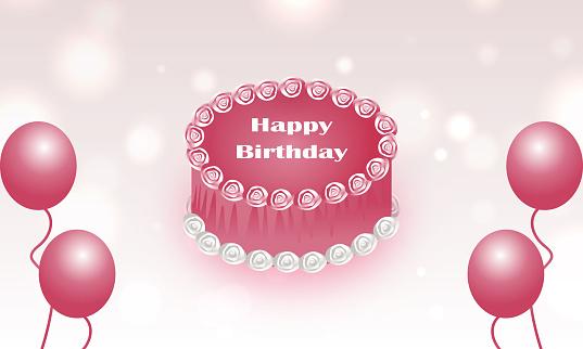 birthday cakes with balloons stock illustration