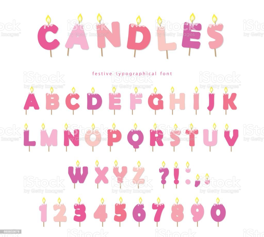 birthday candles font design abc letters and numbers in pastel