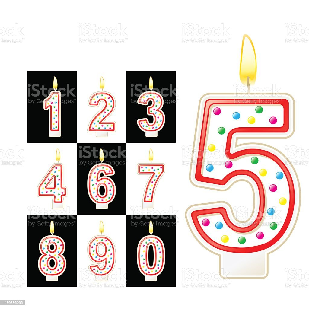 Birthday Candles Number Red Stock Illustration