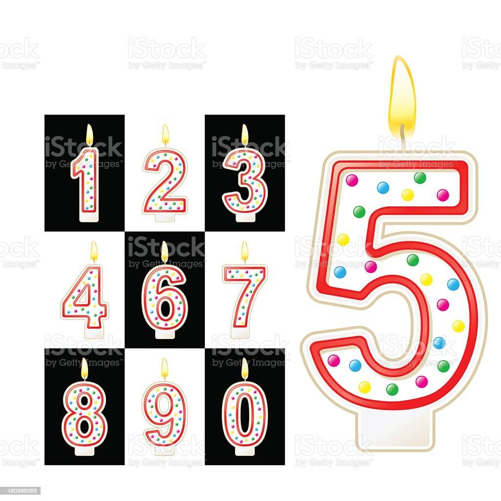 Bougies d'anniversaire numéro. Rouge - Illustration vectorielle