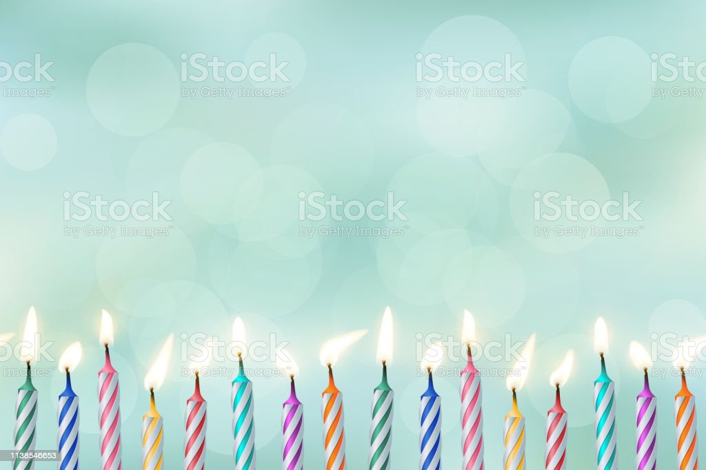 Birthday candles realistic vector illustration on blurred background royalty-free birthday candles realistic vector illustration on blurred background stock illustration - download image now
