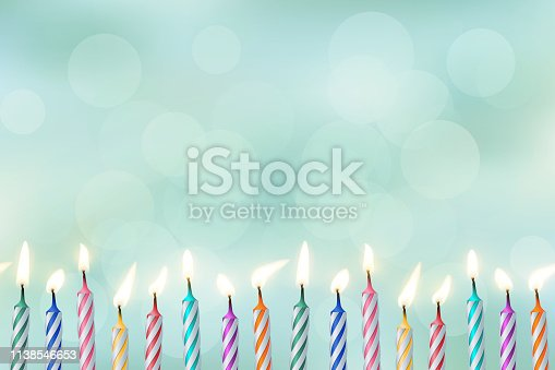 Birthday candles realistic vector color illustration. Festive backdrop for design and text. 3d cake candles with bokeh lights. Holiday banner, poster, greeting card, invitation background idea