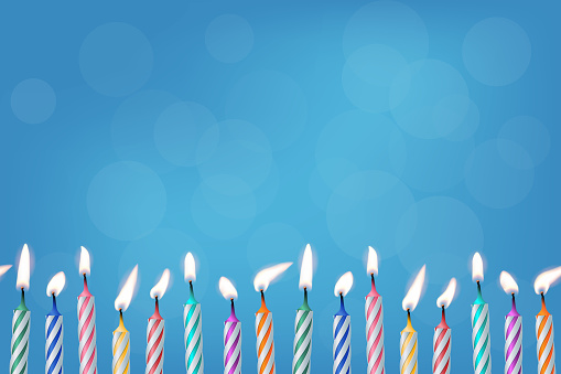 Birthday candles realistic vector illustration