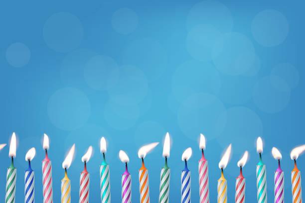 ilustraciones, imágenes clip art, dibujos animados e iconos de stock de velas de cumpleaños realista ilustración vectorial - cumpleaños