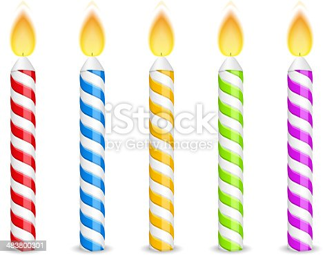Birthday candles on white background, vector eps10 illustration