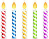 Birthday candles on white background, vector eps10 illustration