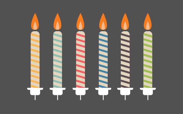 geburtstag kerzen - pastellgelb stock-grafiken, -clipart, -cartoons und -symbole
