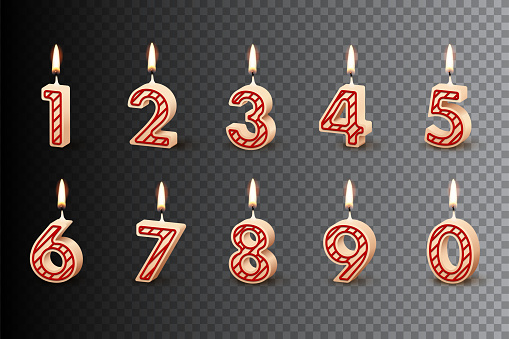 Birthday candles with burning flames isolated on dark transparent background. Vector design elements.