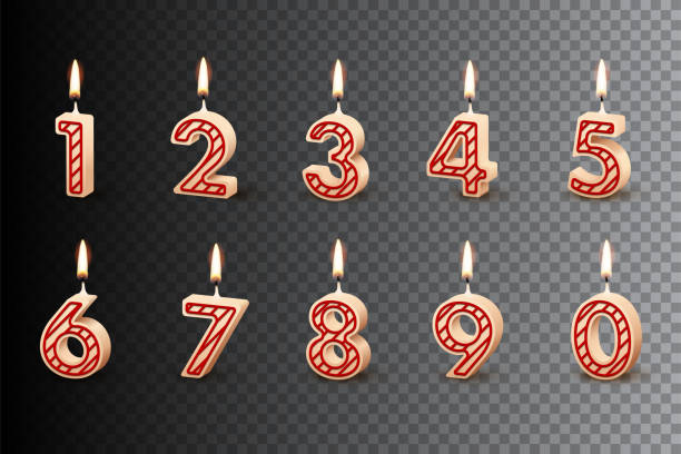 Birthday candles with burning flames isolated on dark transparent background. Vector design elements. Birthday candles with burning flames isolated on dark transparent background. Vector design elements cake silhouettes stock illustrations