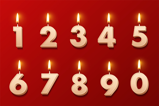 Birthday candles with burning flames isolated on red background. Vector design elements.