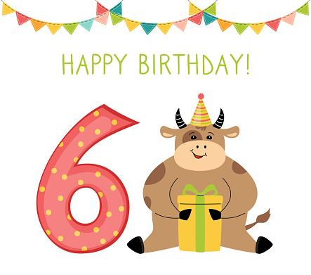 Birthday card bull gift box number six flat vector