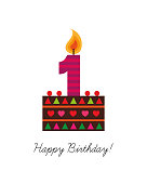 Birthday card, cake with candle, first birthday, number one, Vector illustration