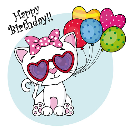 birthday card cat with balloons