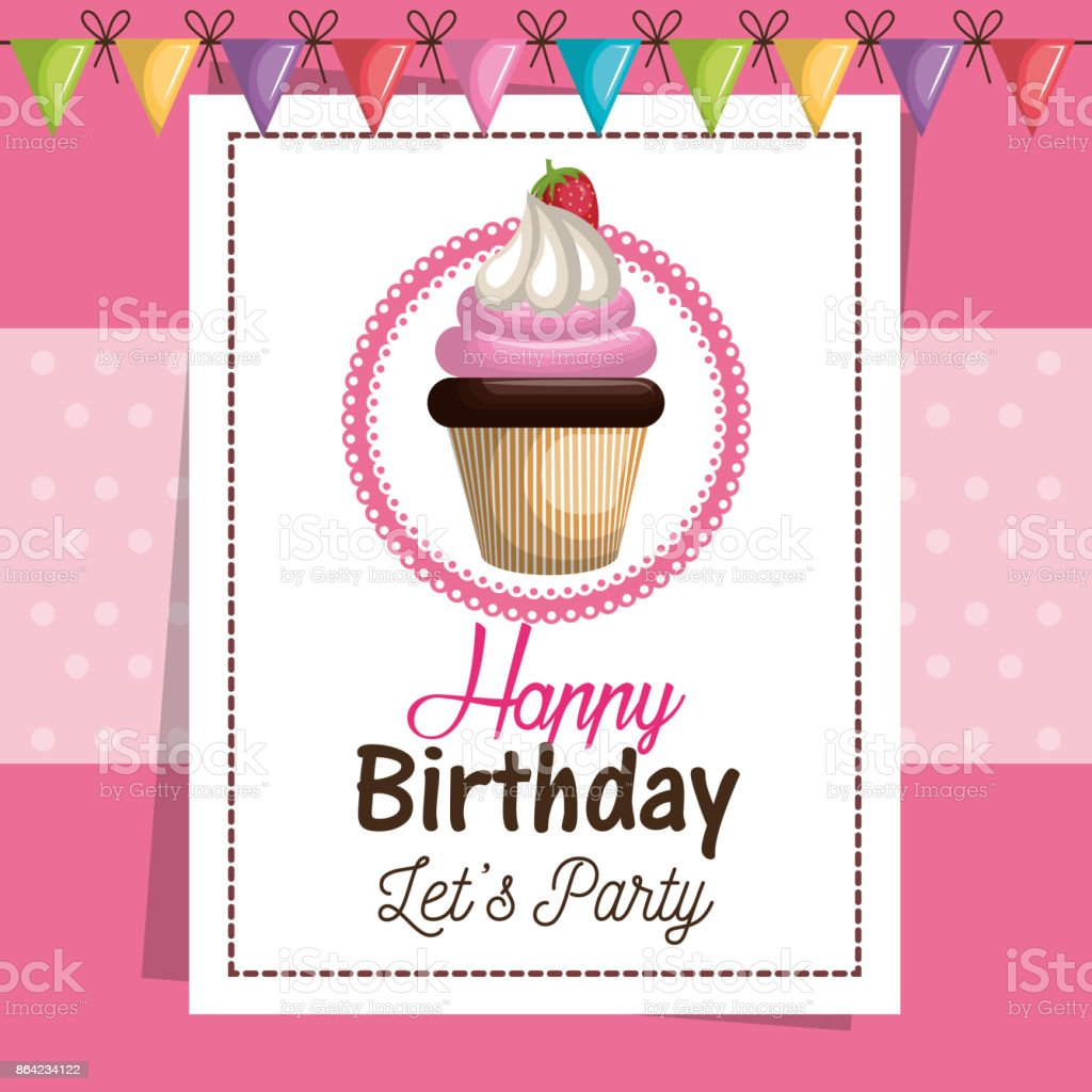birthday card cupcake sweet party royalty-free birthday card cupcake sweet party stock vector art & more images of baked