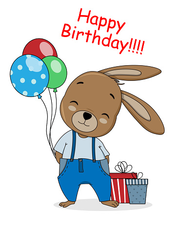 Birthday card. Cute rabbit with balloons and gifts.