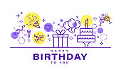 istock Birthday card design. Celebration party illustration. Party elements icons in line style on white background. 1182549676