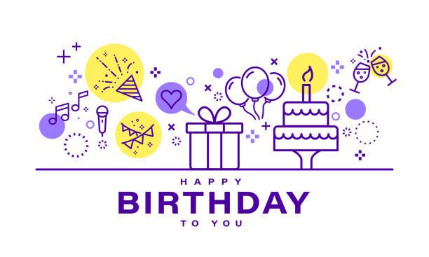 ilustraciones, imágenes clip art, dibujos animados e iconos de stock de diseño de tarjeta de cumpleaños. ilustración de fiesta de celebración. iconos de elementos de fiesta en estilo de línea sobre fondo blanco. - cumpleaños