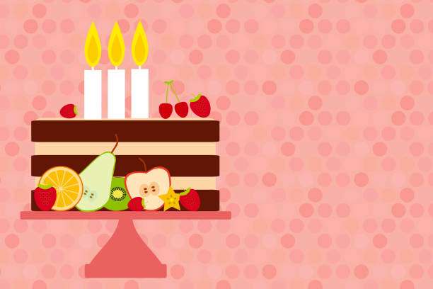 Birthday Card Design Sweet Cake Decorated With Candle Fresh Fruits And Berries Pastel Colors On Pink Polka Dot Background Stand Vector Stock Art
