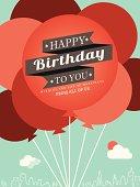 Happy Birthday card design template balloon illustration