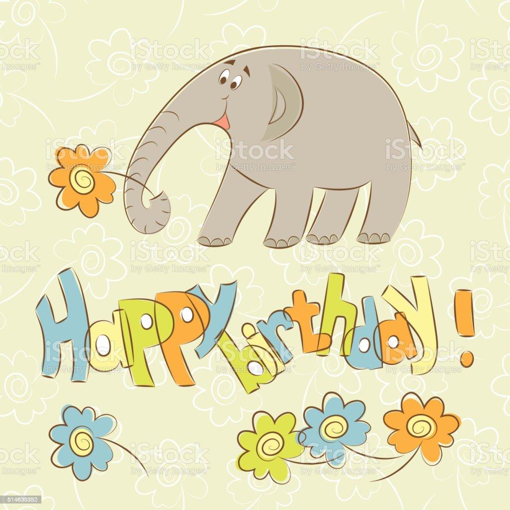 Geburtstag Karte Elefant Mit Blumen Herzlichen Glückwunsch Zum ...