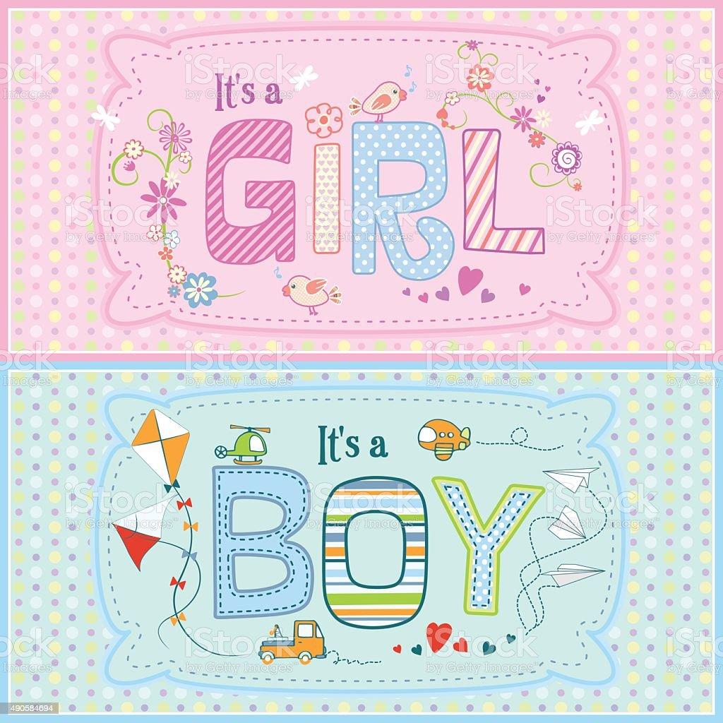Birthday Card For New Born Baby Girl And Baby Boy Stock Vector Art