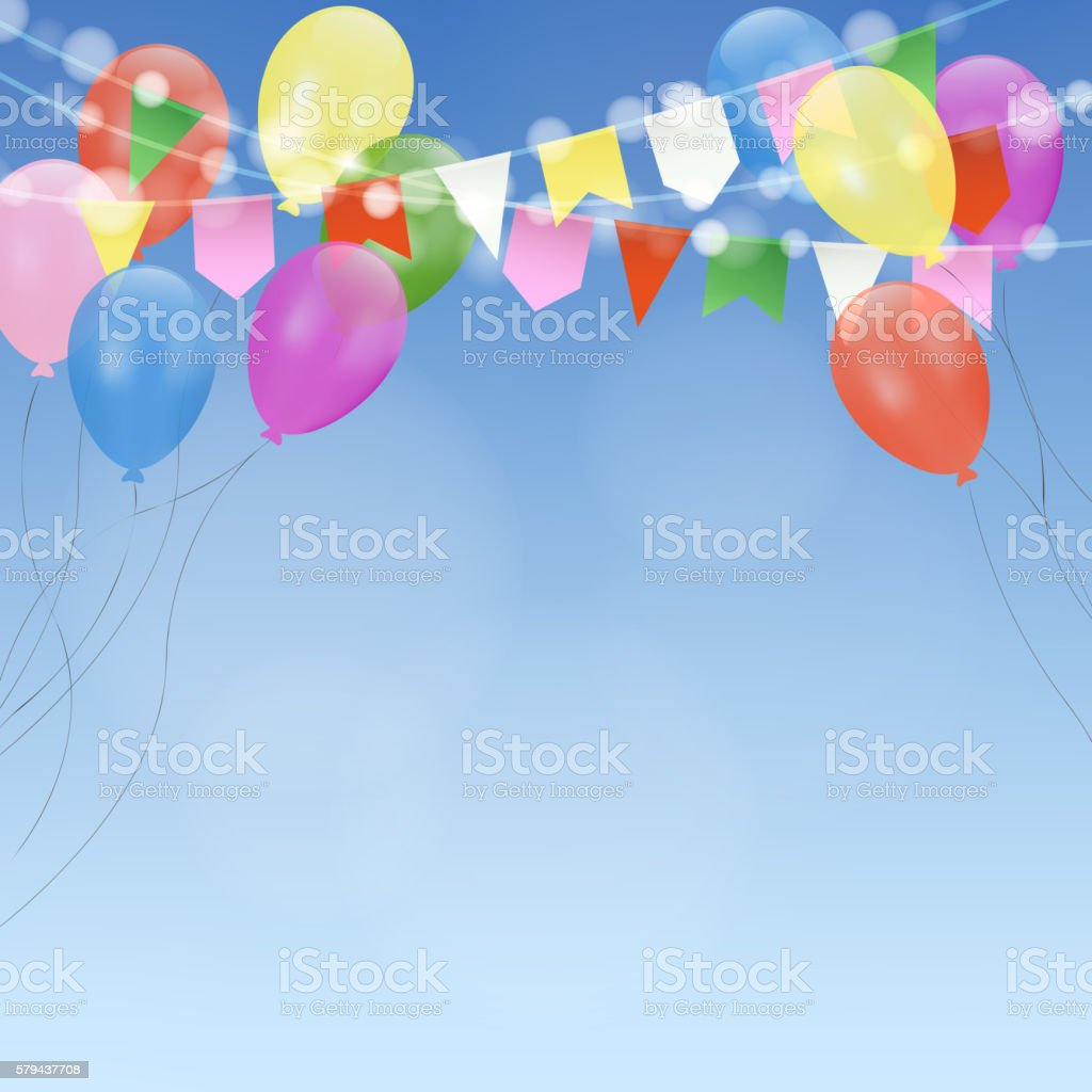 Birthday Card Invitation Bright Balloons And Flags Garden Party – Birthday Cards Decoration