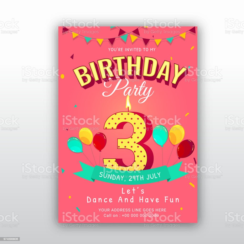 Birthday Card Invitation Template With Number 3 3rd Birthday