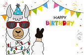 Birthday card. Llama with glasses and party hat. Space for text