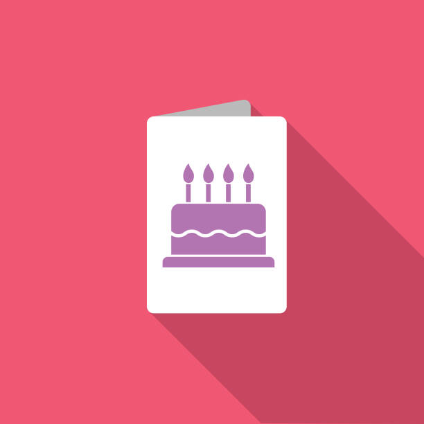 Birthday Card Party Icon With Long Side Shadow vector art illustration