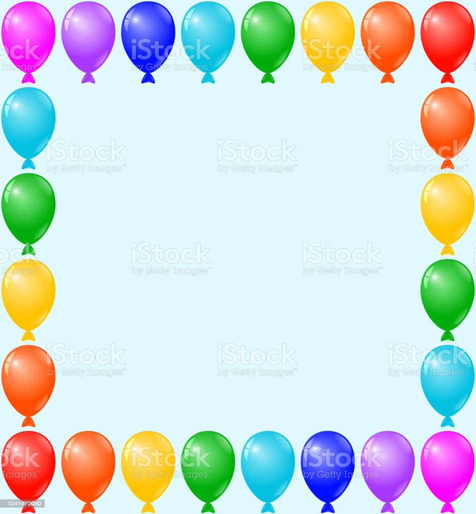 Tremendous Birthday Card Party Invitation Card Banner Frame Colorful Balloons Funny Birthday Cards Online Fluifree Goldxyz