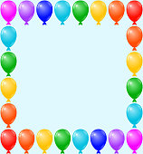 Birthday Card, Party Invitation Card, Banner, Frame, Colorful Balloons
